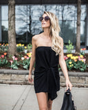 Tricks Of The Trade Strapless Tie Dress - Black