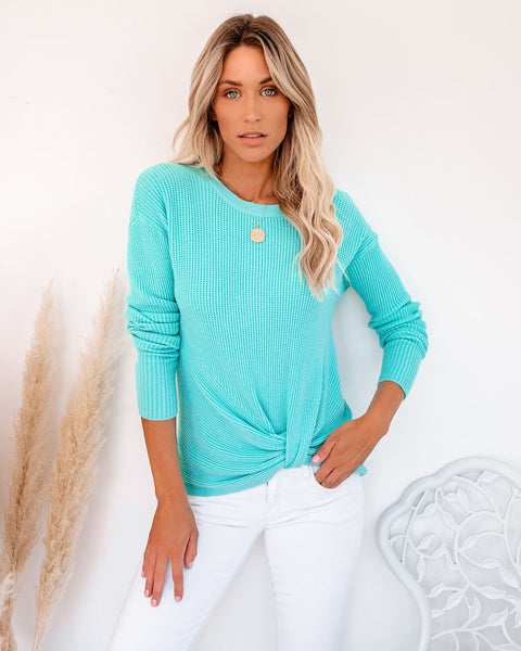 Knot Your Girlfriend Thermal Knit Top - Aqua