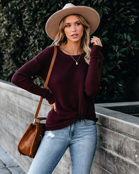 Knot Your Girlfriend Thermal Knit Top - Burgundy - FINAL SALE