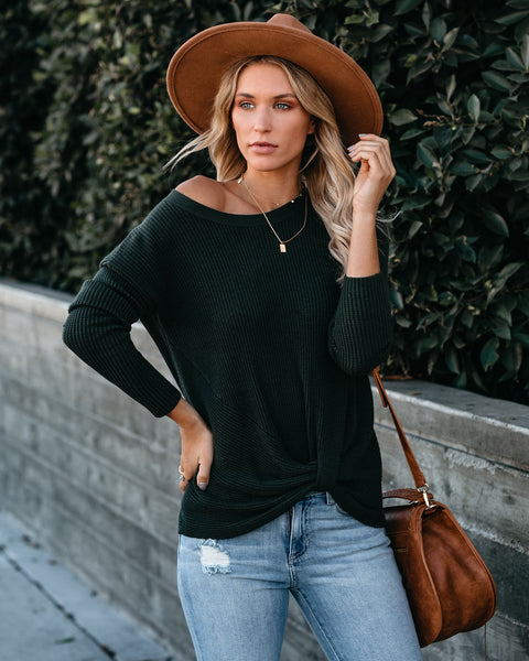 Knot Your Girlfriend Thermal Knit Top - Hunter Green - FINAL SALE