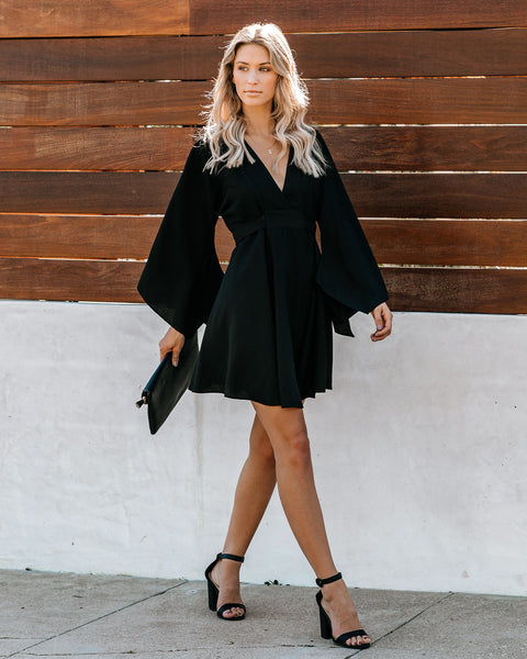 Know It By Heart Tie Back Kimono Dress - Black - FINAL SALE
