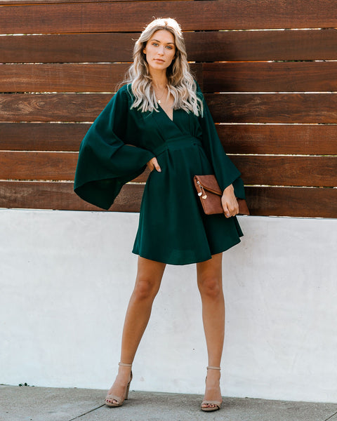 Know It By Heart Tie Back Kimono Dress - Forest Green