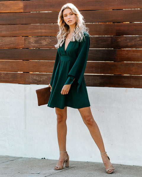 Know It By Heart Tie Back Kimono Dress - Forest Green - FINAL SALE