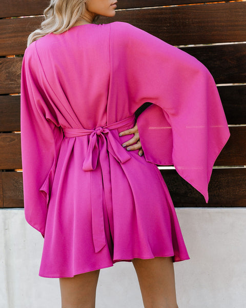 Know It By Heart Tie Back Kimono Dress - Orchid Pink