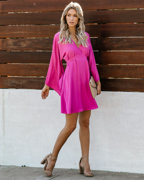 Know It By Heart Tie Back Kimono Dress - Orchid Pink - FINAL SALE