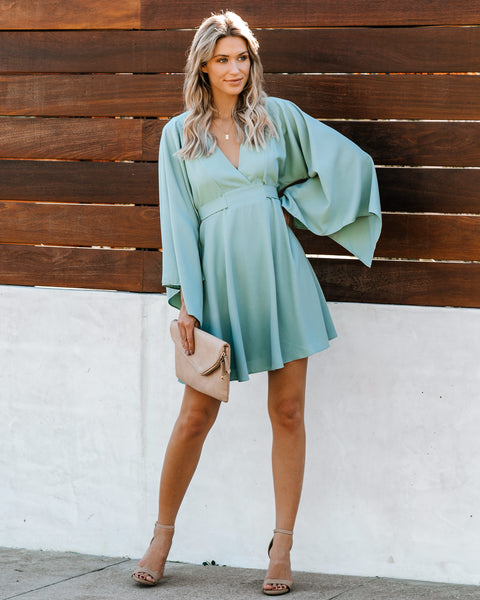 Know It By Heart Tie Back Kimono Dress - Sage