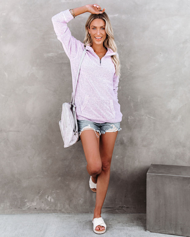 Korey Pocketed French Terry Half Zip Pullover - Lilac view 9