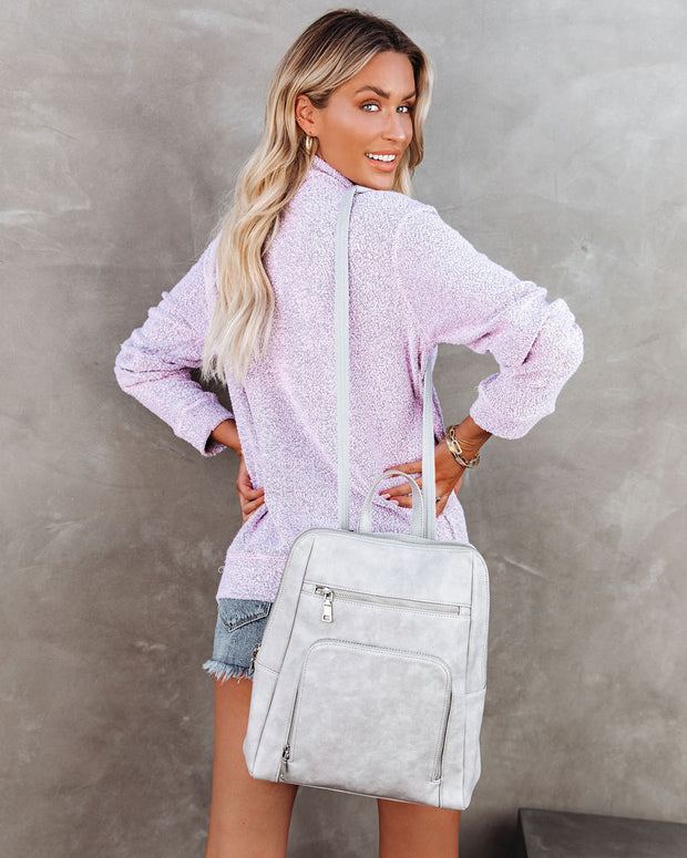 Korey Pocketed French Terry Half Zip Pullover - Lilac view 2