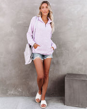 Korey Pocketed French Terry Half Zip Pullover - Lilac view 10