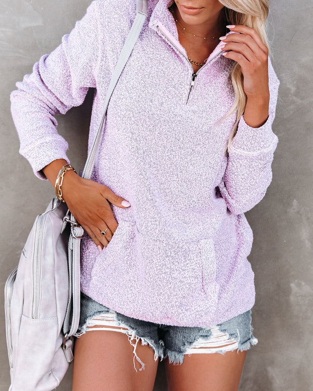 Korey Pocketed French Terry Half Zip Pullover - Lilac view 6