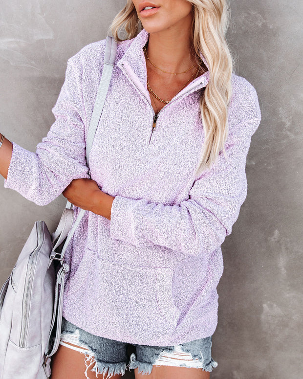 Korey Pocketed French Terry Half Zip Pullover - Lilac view 3
