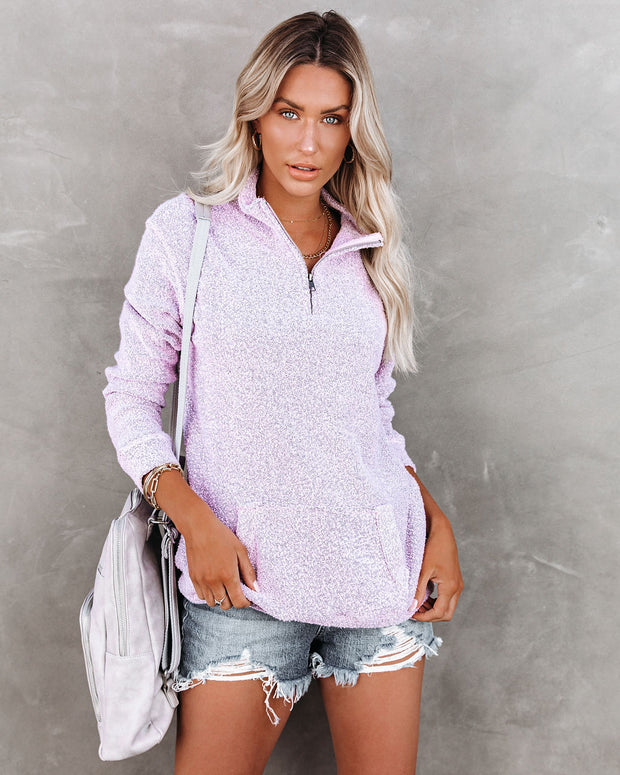 Korey Pocketed French Terry Half Zip Pullover - Lilac view 1