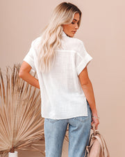 Krissy Cotton Woven Button Down Top - White view 2