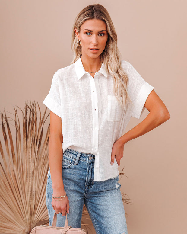Krissy Cotton Woven Button Down Top - White view 3