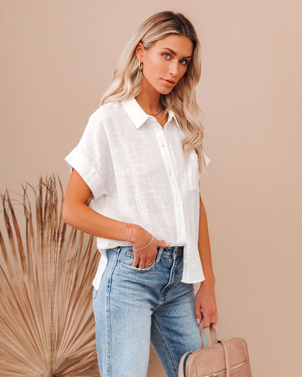 Krissy Cotton Woven Button Down Top - White view 5