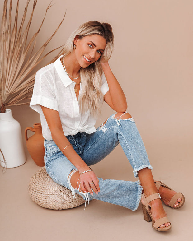 Krissy Cotton Woven Button Down Top - White view 9