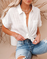 Krissy Cotton Woven Button Down Top - White view 1