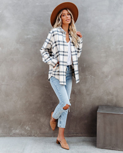 Kurt Cotton Pocketed Plaid Button Down Top