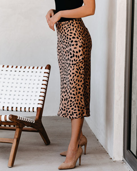 Kyle Printed Satin Midi Skirt