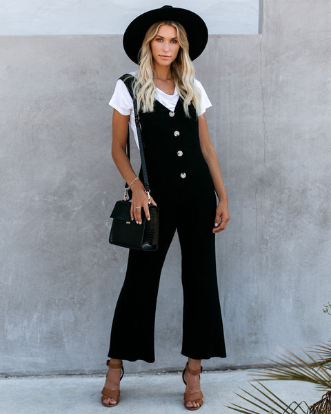La Barista Button Down Knit Jumpsuit - Black