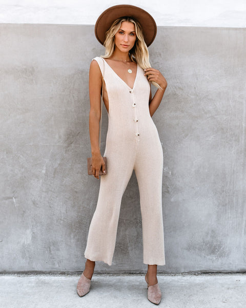 La Barista Button Down Knit Jumpsuit - Beige