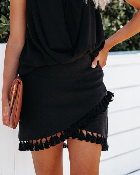 La Casa Wrap Tassel Skirt - Black