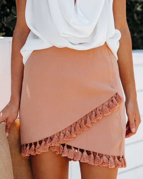 La Casa Wrap Tassel Skirt - Rust