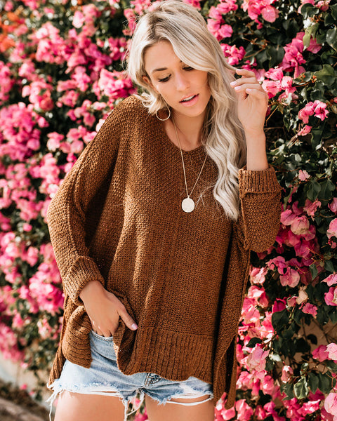 Laid Back Knit Sweater - Camel