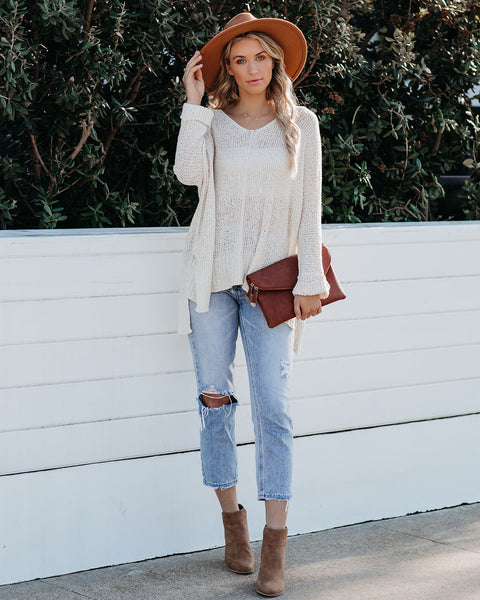 Laid Back Knit Sweater - Cream - FINAL SALE
