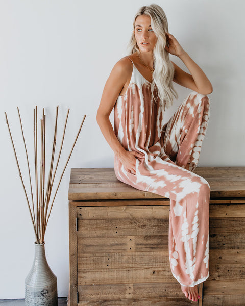 La Jolla Pocketed Tie Dye Jumpsuit - Rose