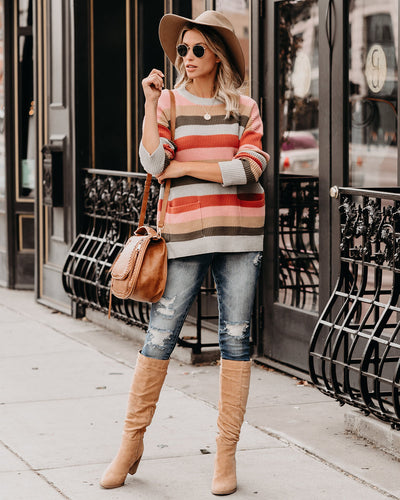 Lake Louise Pocketed Cotton Blend Striped Sweater