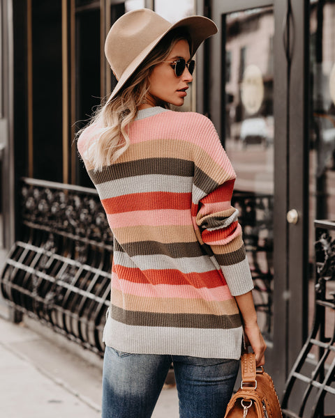 Lake Louise Pocketed Cotton Blend Striped Sweater  -FINAL SALE