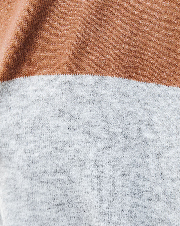 Laney Pocketed Colorblock Knit Cardigan - Camel