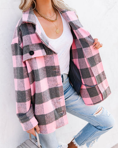 Larry Pocketed Buffalo Plaid Shacket - Pink