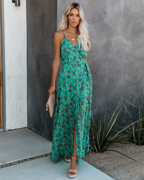 Lasting Blooms Floral Wrap Maxi Dress
