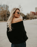 Warm Heart Off The Shoulder Sweater - Black
