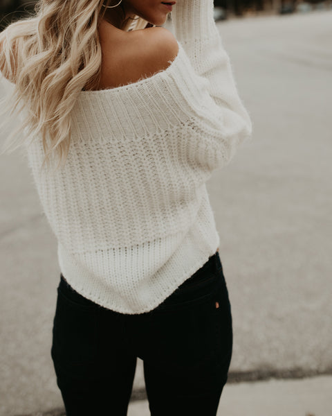 Warm Heart Off The Shoulder Sweater - Ivory