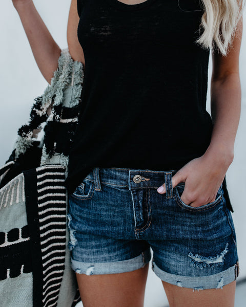 Born To Run Distressed Cuffed Denim Shorts