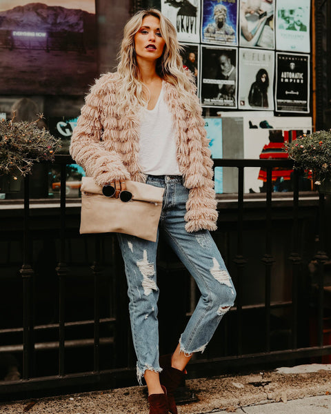 Revolution Faux Fur Jacket - Latte