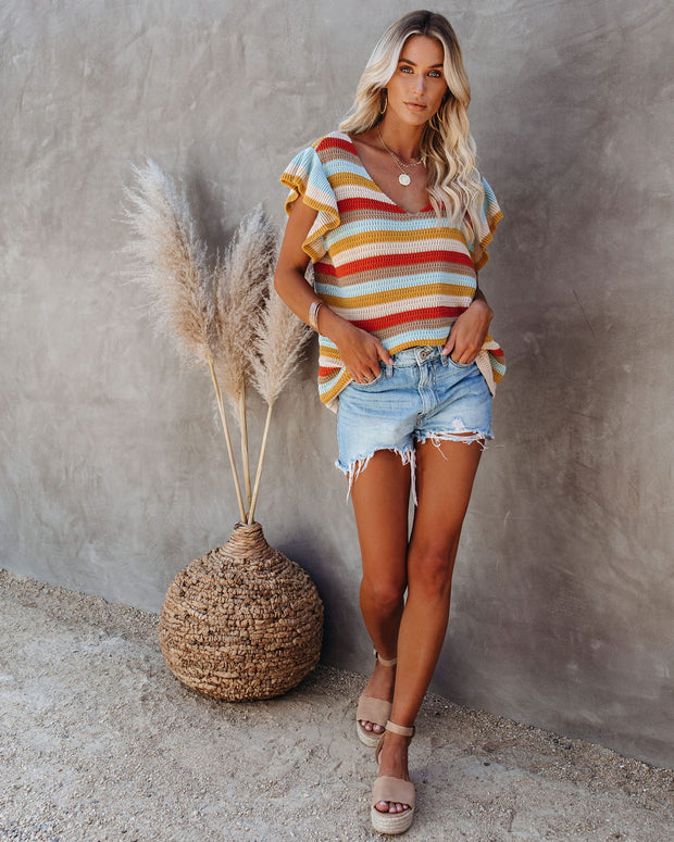 Laurel Cotton Striped Flutter Top  - FINAL SALE