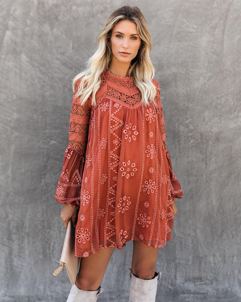 Laurel Crochet Eyelet Dress - Terracotta