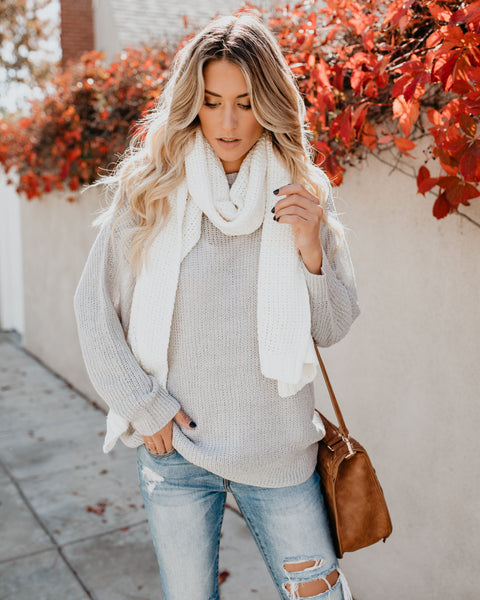 Lavish Cable Knit Scarf - White