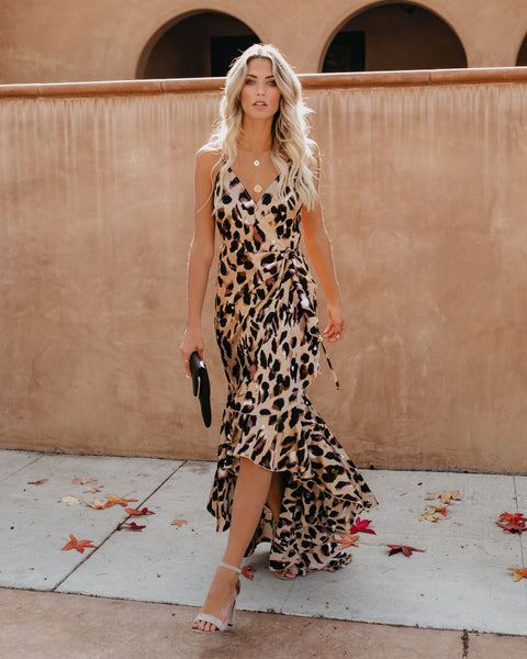 Lavishness Leopard Wrap Maxi Dress - FINAL SALE