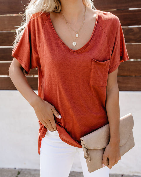Lazy On The Weekends Slub V-Neck Cotton Blend Tee - Sienna