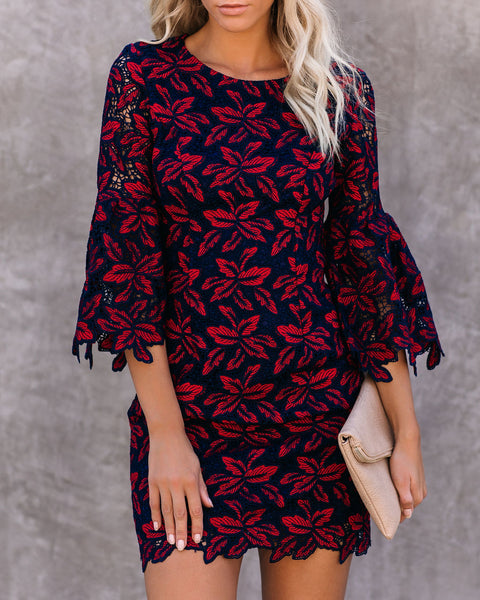 Leavenworth Crochet Lace Bell Sleeve Dress