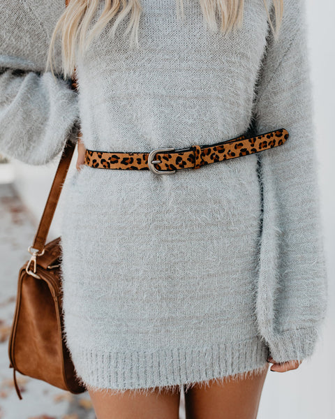 Leena Skinny Leather Leopard Belt