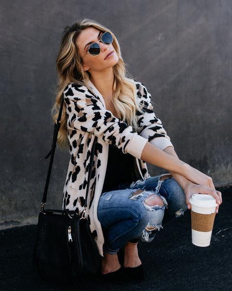 Leopardess Knit Pocketed Cardigan