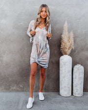 Leslie Tie Dye Twist Front Knit Dress