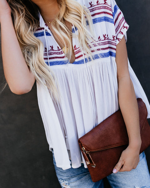 Let Freedom Ring Embroidered Top