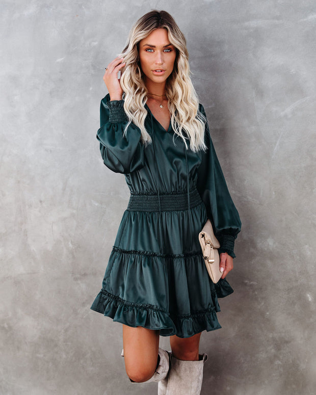 Let Me Love You Satin Tiered Ruffle Dress - Dark Teal